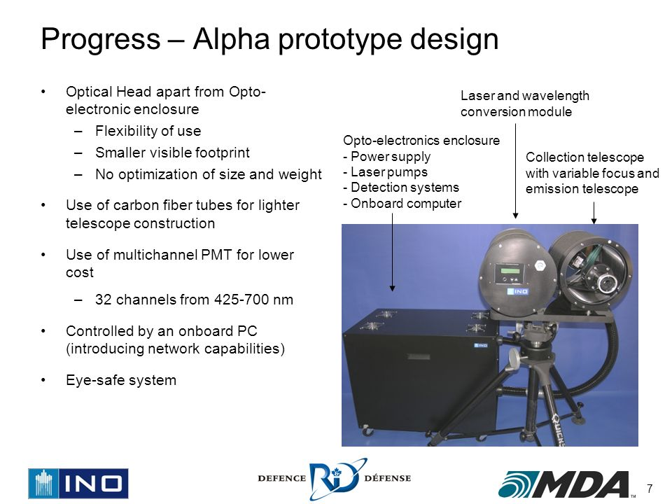 7 Progress – Alpha prototype design Optical Head apart from Opto- electronic enclosure –Flexibility of use –Smaller visible footprint –No optimization