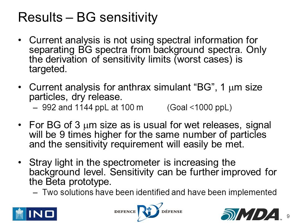 9 Results – BG sensitivity Current analysis is not using spectral information for separating BG spectra from background spectra.