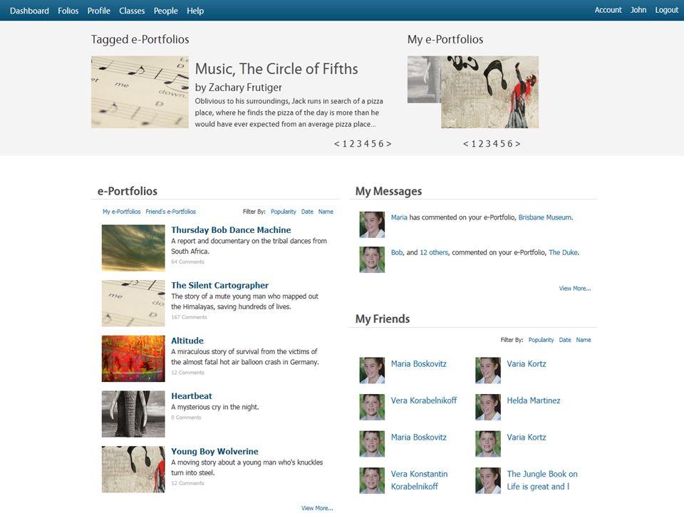 Visual slideshow of your e-Portfolios E-Portfolio emails and instant messages Links to My Classes and My Friends List of all current e-Portfolios Featured and Tagged e-Portfolios Menu to access Classes, My e- Portfolios, Profile