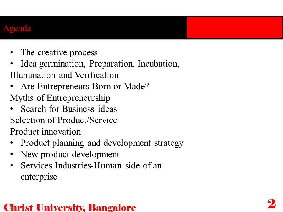 Agenda The creative process Idea germination, Preparation, Incubation, Illumination and Verification Are Entrepreneurs Born or Made? Myths of Entrepre