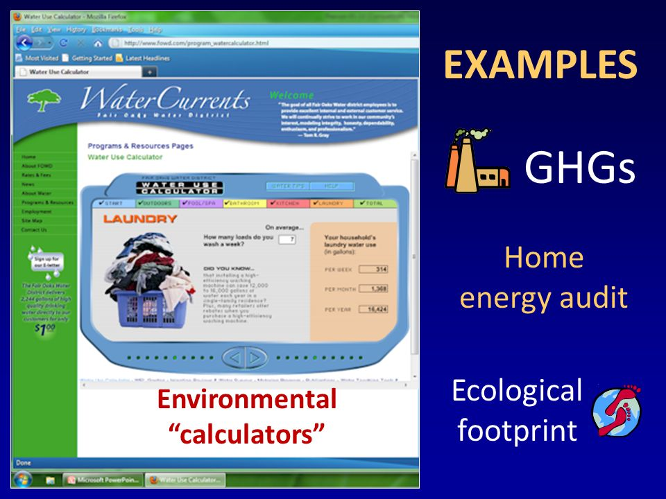 Environmental calculators GHGs EXAMPLES Ecological footprint Home energy audit