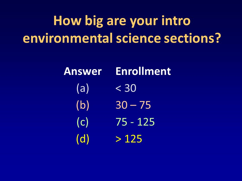 How big are your intro environmental science sections.