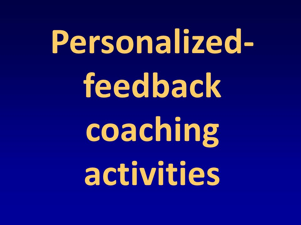 Personalized- feedback coaching activities