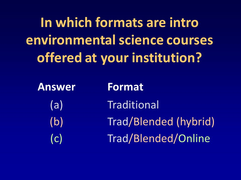 In which formats are intro environmental science courses offered at your institution? AnswerFormat (a)Traditional (b)Trad/Blended (hybrid) (c)Trad/Ble