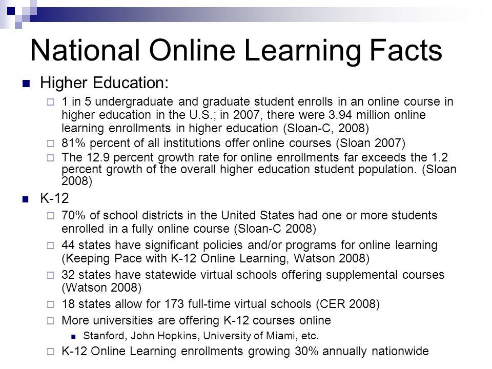 National Online Learning Facts Higher Education: 1 in 5 undergraduate and graduate student enrolls in an online course in higher education in the U.S.