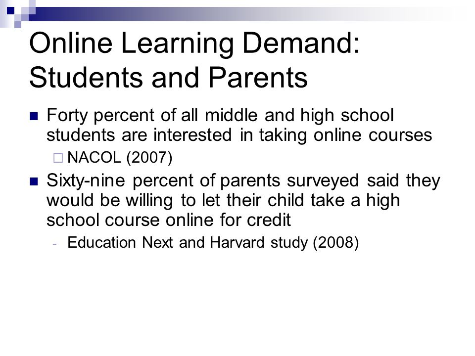 Online Learning Demand: Students and Parents Forty percent of all middle and high school students are interested in taking online courses NACOL (2007)