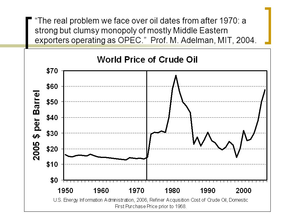 The real problem we face over oil dates from after 1970: a strong but clumsy monopoly of mostly Middle Eastern exporters operating as OPEC.