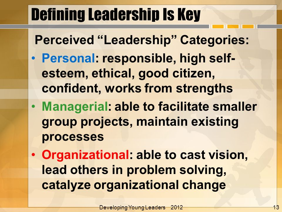 Developing Young Leaders 2012 Alan E. Nelson, EdD Defining Leadership Is Key Perceived Leadership Categories: Personal: responsible, high self- esteem