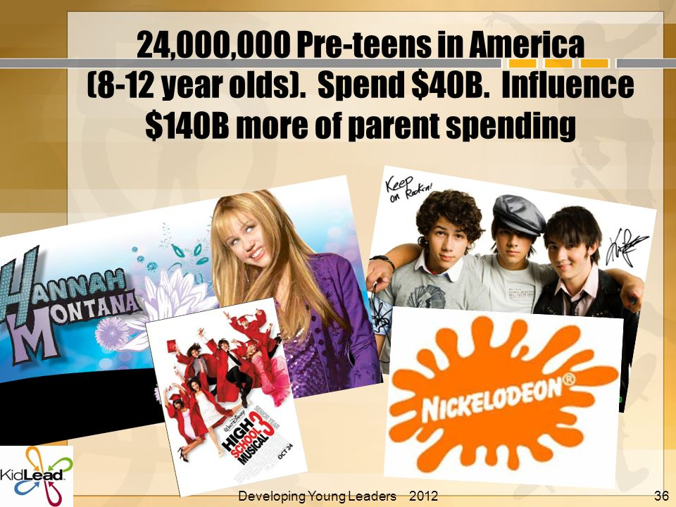 24,000,000 Pre-teens in America (8-12 year olds). Spend $40B. Influence $140B more of parent spending Developing Young Leaders 2012 Alan E. Nelson, Ed