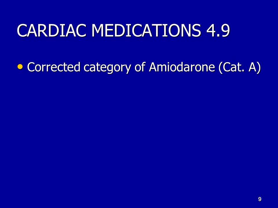 CARDIAC MEDICATIONS 4.9 Corrected category of Amiodarone (Cat. A) Corrected category of Amiodarone (Cat. A) 9