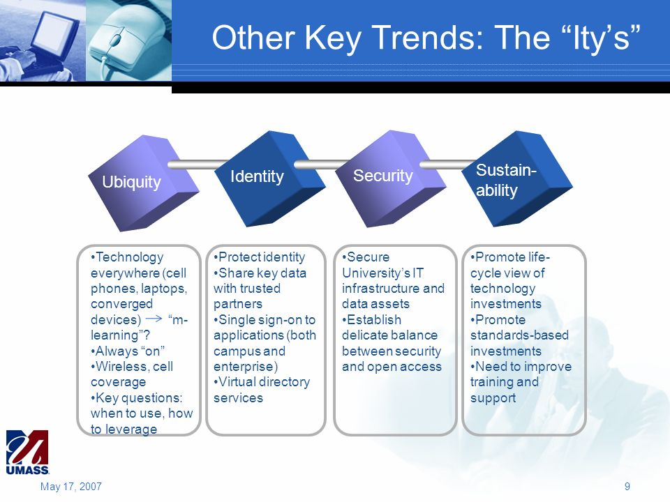 Other Key Trends: The Itys Ubiquity Identity Security Sustain- ability Technology everywhere (cell phones, laptops, converged devices) m- learning? Al