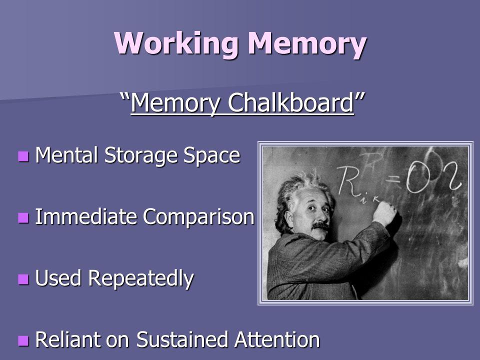 Working Memory Memory ChalkboardMemory Chalkboard Mental Storage Space Mental Storage Space Immediate Comparison Immediate Comparison Used Repeatedly