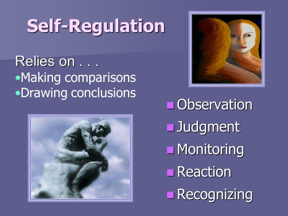 Self-Regulation Observation Observation Judgment Judgment Monitoring Monitoring Reaction Reaction Recognizing Recognizing Relies on... Making comparis