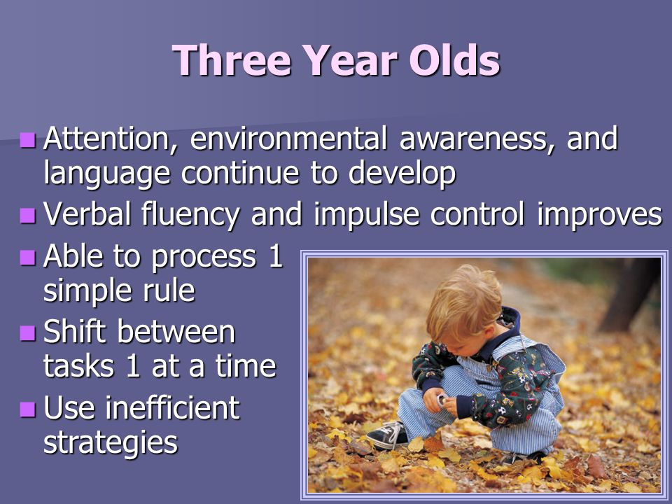 Three Year Olds Attention, environmental awareness, and language continue to develop Attention, environmental awareness, and language continue to deve