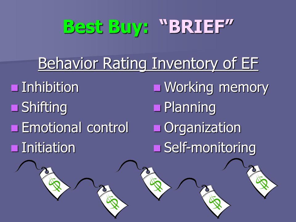 Best Buy: BRIEF Behavior Rating Inventory of EF Inhibition Inhibition Shifting Shifting Emotional control Emotional control Initiation Initiation Work