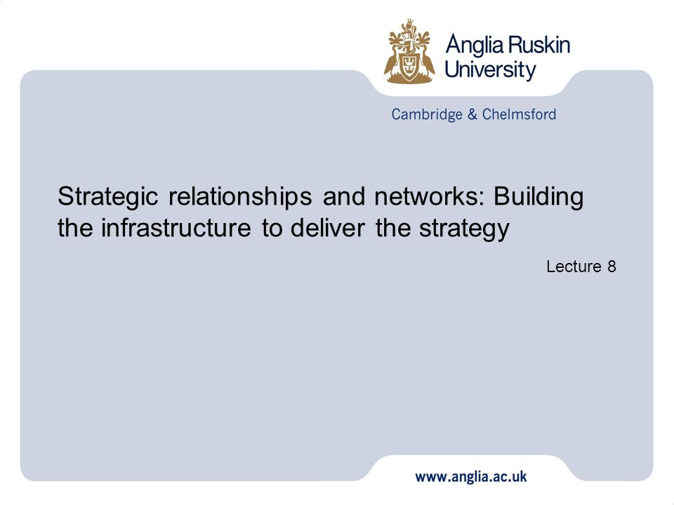 Strategic relationships and networks: Building the infrastructure to deliver the strategy Lecture 8