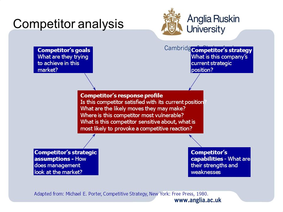 Competitor analysis Competitors goals What are they trying to achieve in this market? Competitors strategy What is this companys current strategic pos