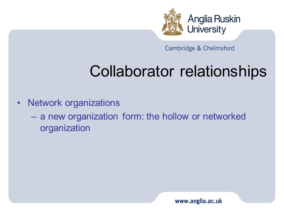Collaborator relationships Network organizations –a new organization form: the hollow or networked organization
