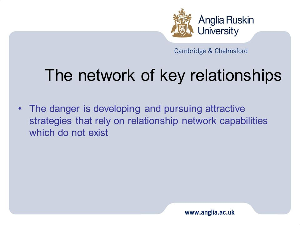 The network of key relationships The danger is developing and pursuing attractive strategies that rely on relationship network capabilities which do n