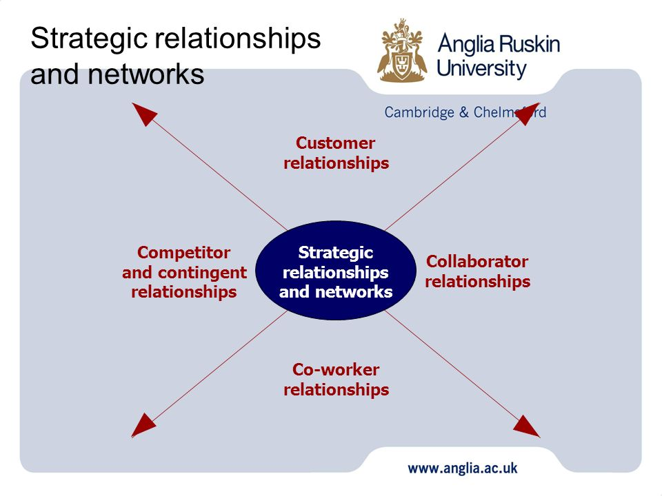 Strategic relationships and networks Strategic relationships and networks Customer relationships Competitor and contingent relationships Collaborator