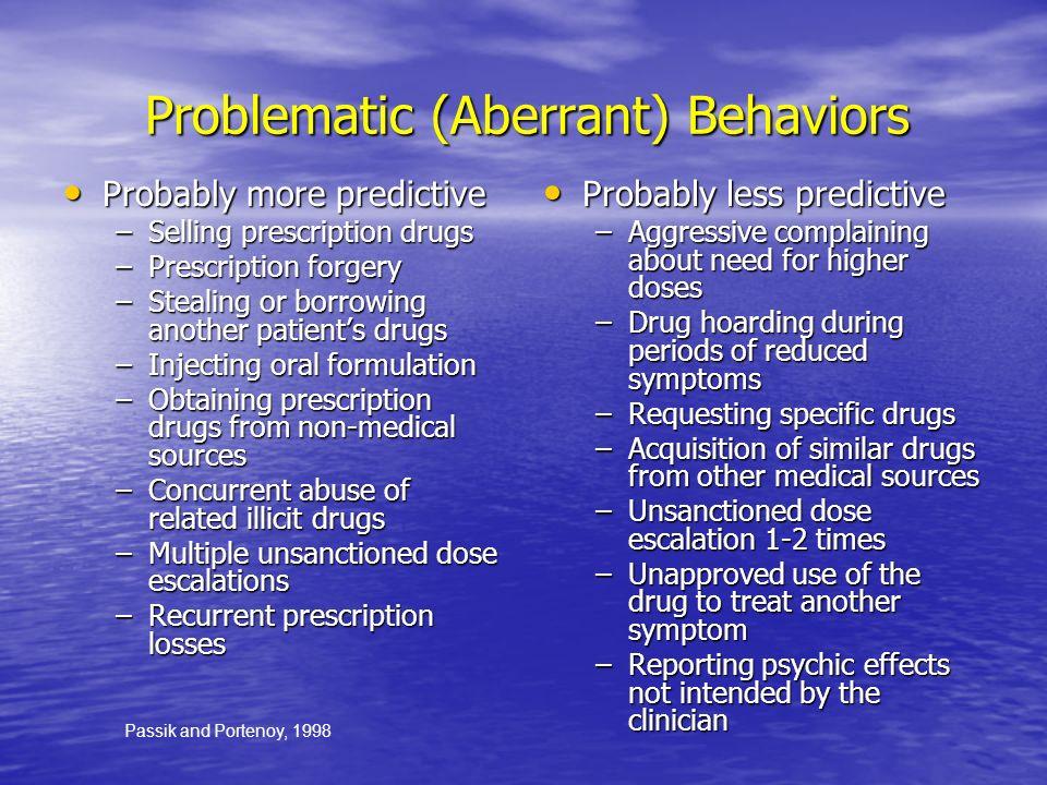Problematic (Aberrant) Behaviors Problematic (Aberrant) Behaviors Probably more predictive Probably more predictive –Selling prescription drugs –Presc