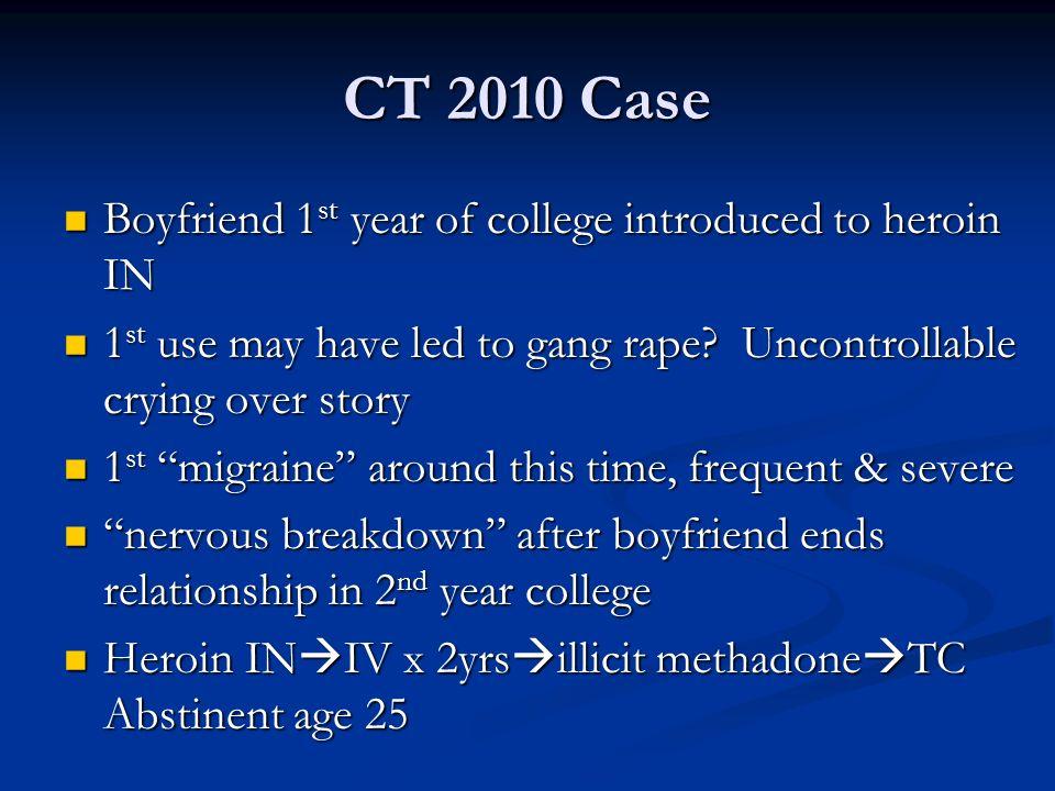 CT 2010 Case Boyfriend 1 st year of college introduced to heroin IN Boyfriend 1 st year of college introduced to heroin IN 1 st use may have led to ga