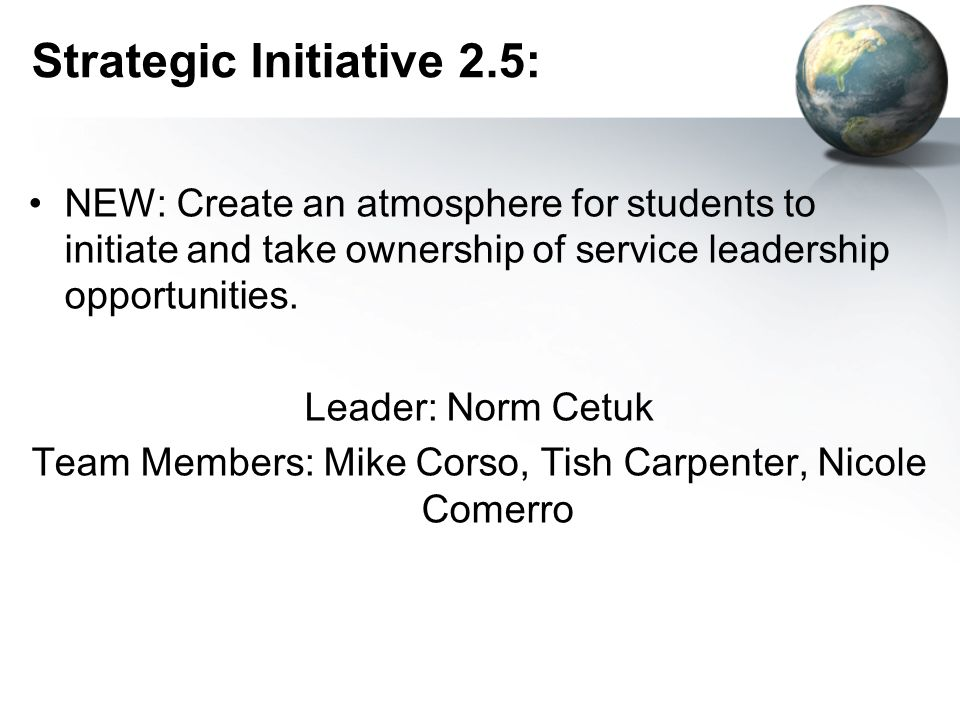 Strategic Initiative 2.5: NEW: Create an atmosphere for students to initiate and take ownership of service leadership opportunities.