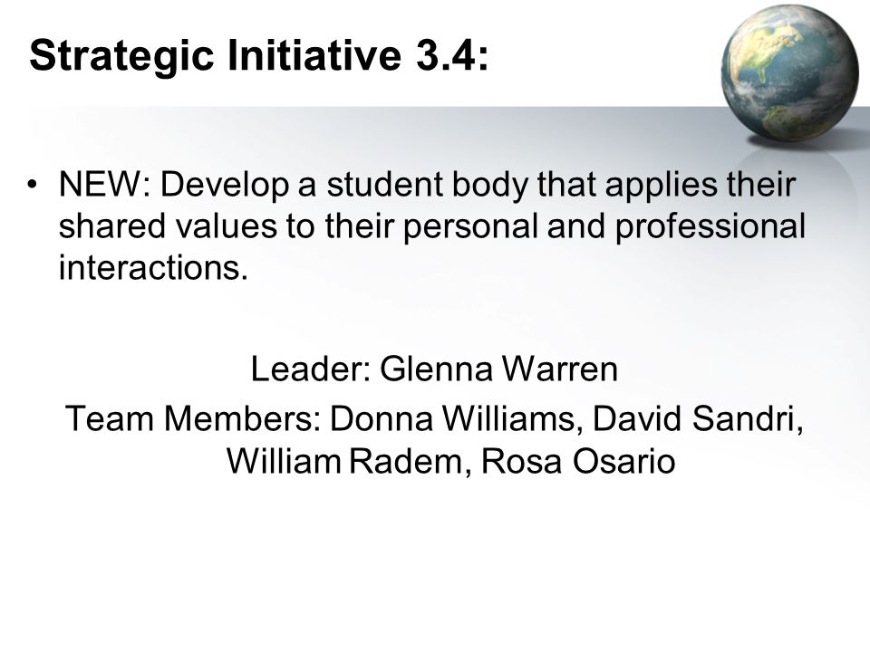 Strategic Initiative 3.4: NEW: Develop a student body that applies their shared values to their personal and professional interactions.