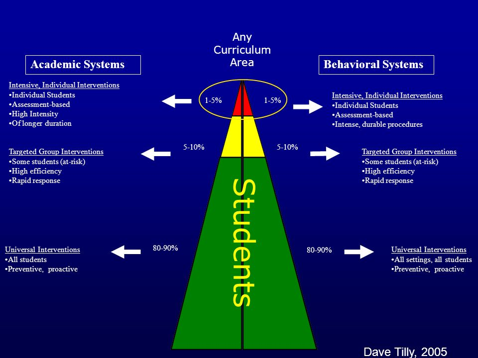 Academic SystemsBehavioral Systems 1-5% 5-10% 80-90% Intensive, Individual Interventions Individual Students Assessment-based High Intensity Of longer