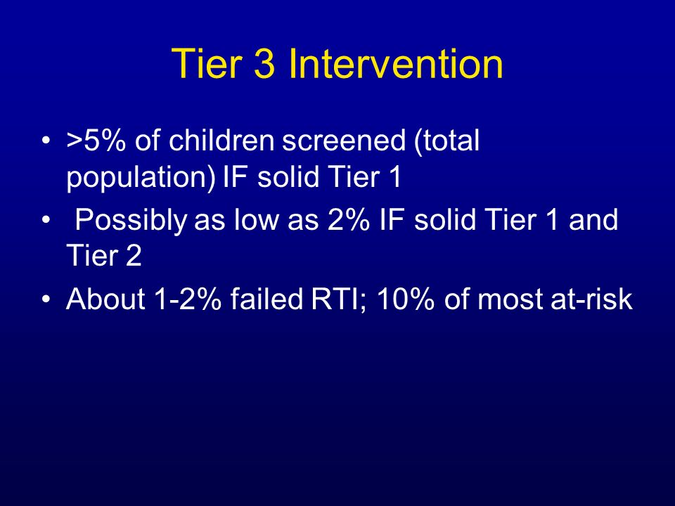Tier 3 Intervention >5% of children screened (total population) IF solid Tier 1 Possibly as low as 2% IF solid Tier 1 and Tier 2 About 1-2% failed RTI