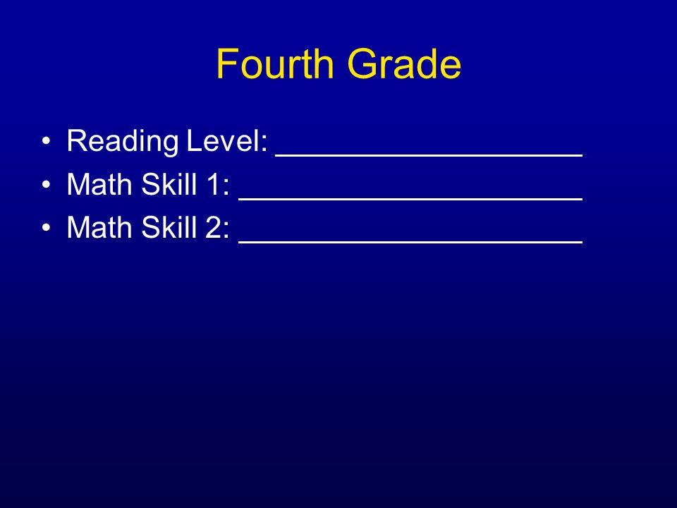 Fourth Grade Reading Level: Math Skill 1: Math Skill 2: