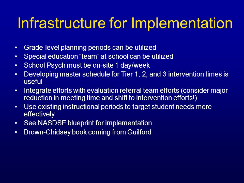 Infrastructure for Implementation Grade-level planning periods can be utilized Special education team at school can be utilized School Psych must be o