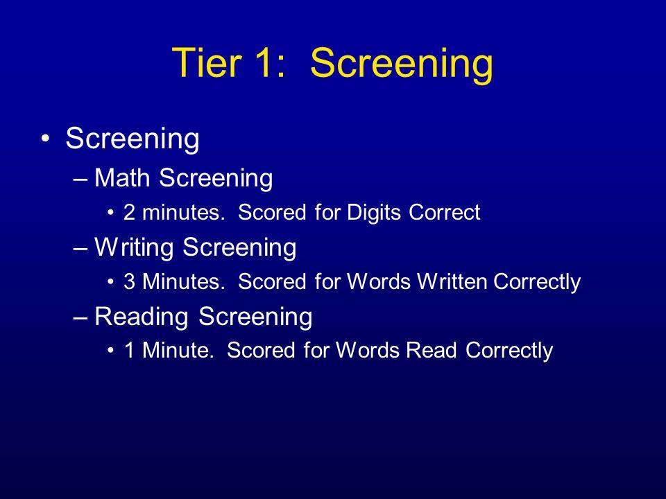 Tier 1: Screening Screening –Math Screening 2 minutes. Scored for Digits Correct –Writing Screening 3 Minutes. Scored for Words Written Correctly –Rea