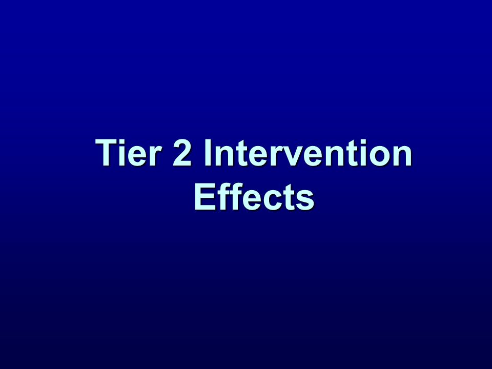 Tier 2 Intervention Effects