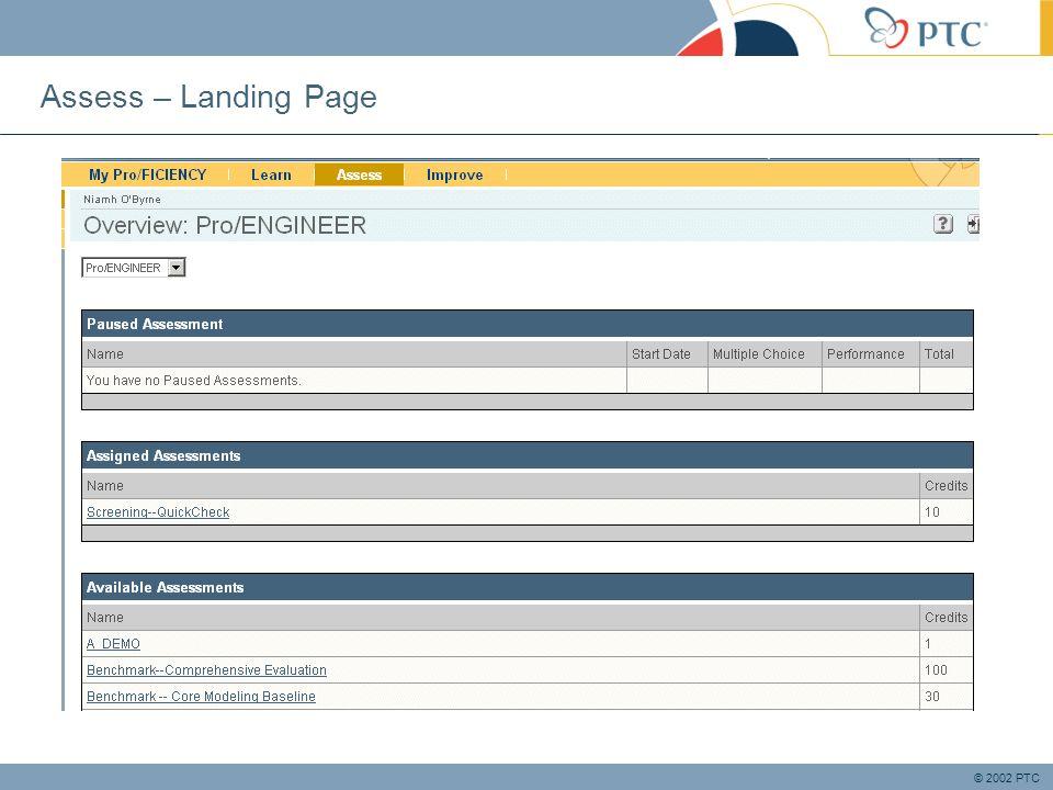 © 2002 PTC Assess – Landing Page