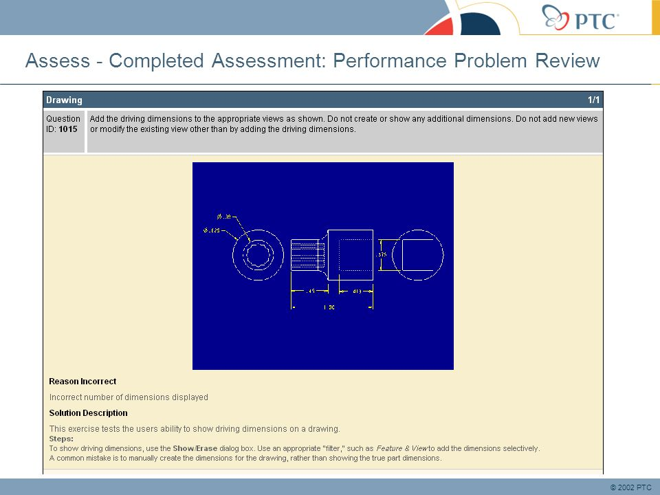 © 2002 PTC Assess - Completed Assessment: Performance Problem Review