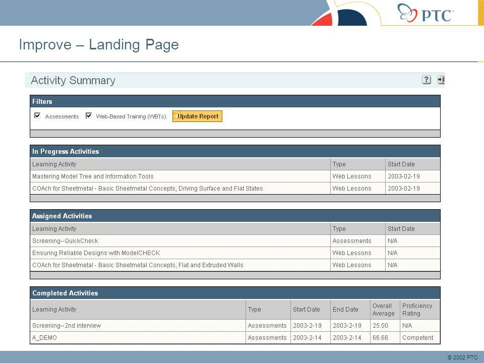 © 2002 PTC Improve – Landing Page