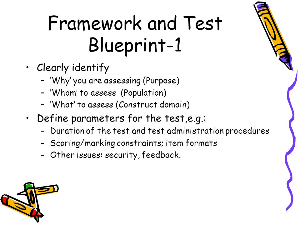 Framework and Test Blueprint-1 Clearly identify –Why you are assessing (Purpose) –Whom to assess (Population) –What to assess (Construct domain) Defin