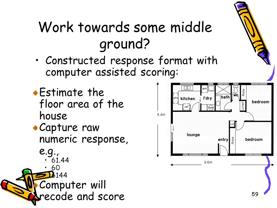 59 Work towards some middle ground? Constructed response format with computer assisted scoring: 6.4m 9.6m Estimate the floor area of the house Capture