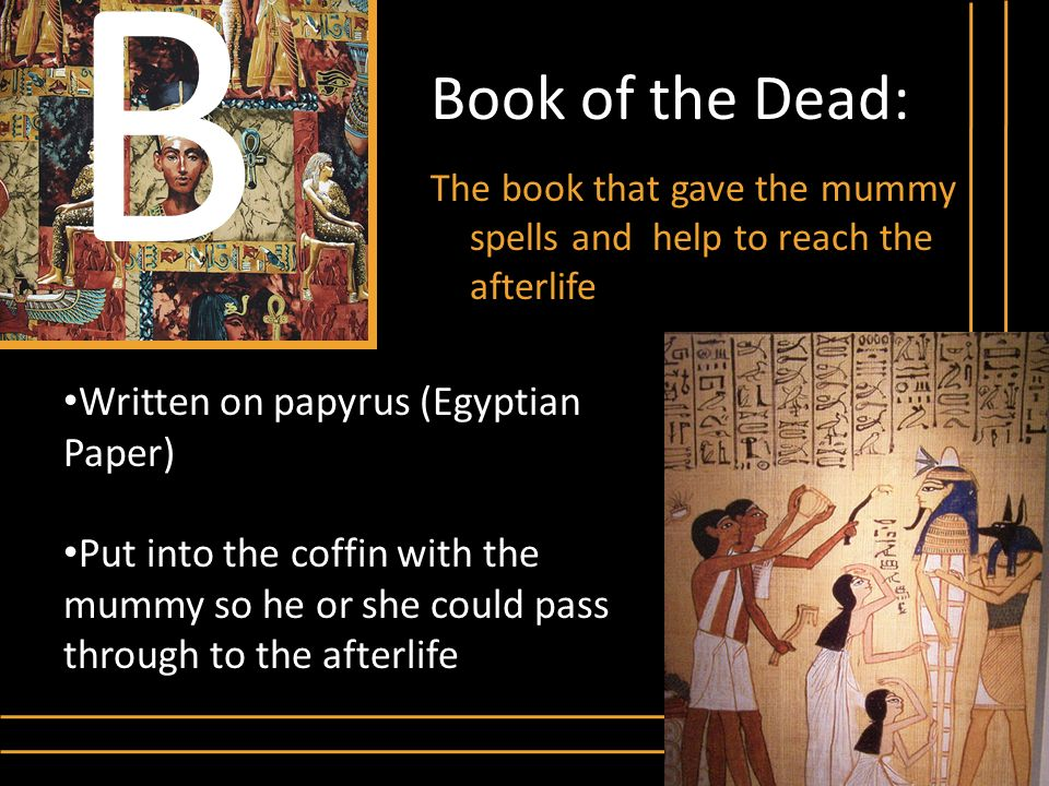 Book of the Dead: The book that gave the mummy spells and help to reach the afterlife B Written on papyrus (Egyptian Paper) Put into the coffin with t