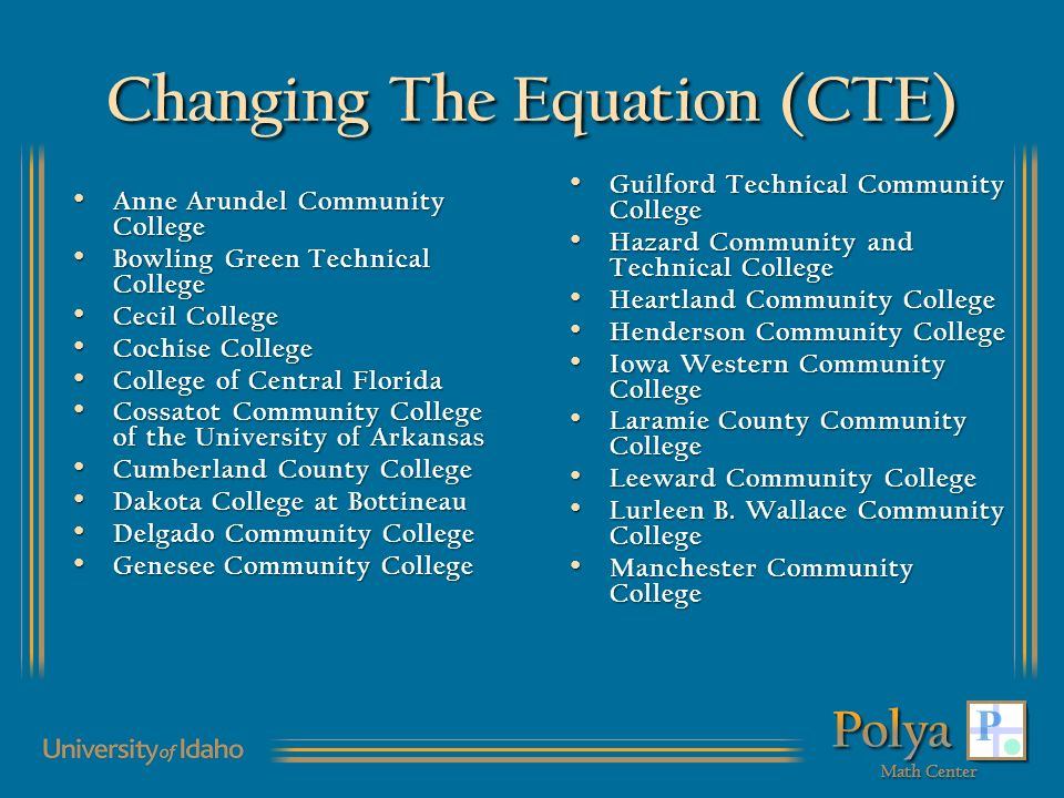Changing The Equation (CTE) Anne Arundel Community College Anne Arundel Community College Bowling Green Technical College Bowling Green Technical College Cecil College Cecil College Cochise College Cochise College College of Central Florida College of Central Florida Cossatot Community College of the University of Arkansas Cossatot Community College of the University of Arkansas Cumberland County College Cumberland County College Dakota College at Bottineau Dakota College at Bottineau Delgado Community College Delgado Community College Genesee Community College Genesee Community College Guilford Technical Community College Guilford Technical Community College Hazard Community and Technical College Hazard Community and Technical College Heartland Community College Heartland Community College Henderson Community College Henderson Community College Iowa Western Community College Iowa Western Community College Laramie County Community College Laramie County Community College Leeward Community College Leeward Community College Lurleen B.