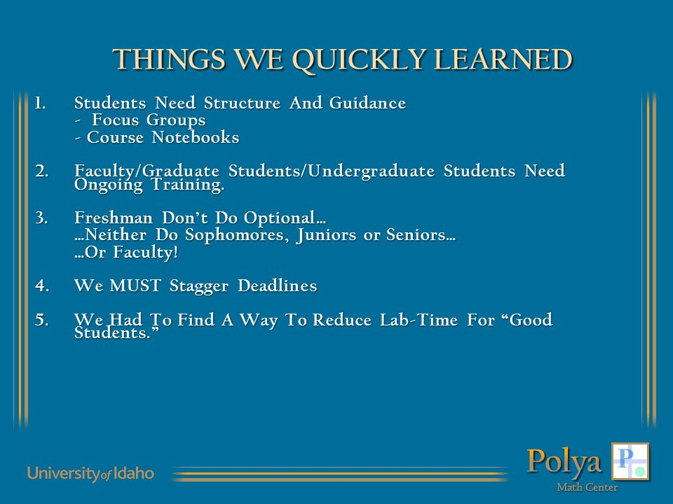 THINGS WE QUICKLY LEARNED 1.Students Need Structure And Guidance - Focus Groups - Course Notebooks 2.Faculty/Graduate Students/Undergraduate Students Need Ongoing Training.