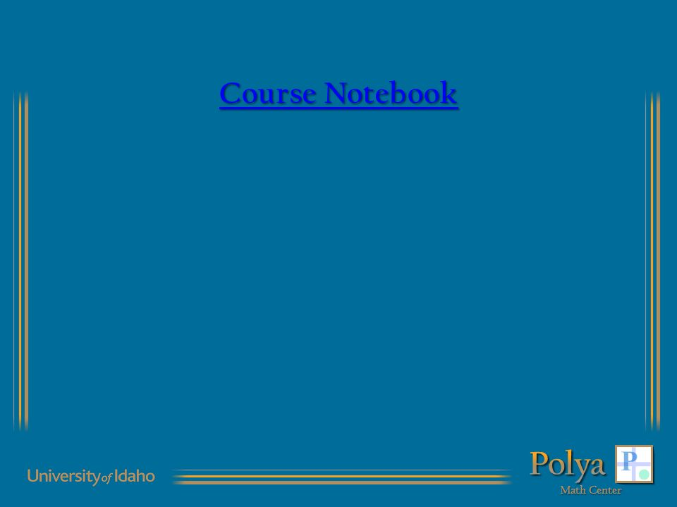 Course Notebook Course Notebook