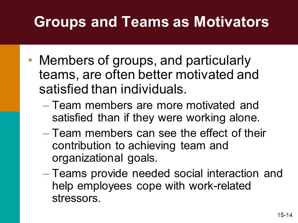 15-14 Groups and Teams as Motivators Members of groups, and particularly teams, are often better motivated and satisfied than individuals. –Team membe