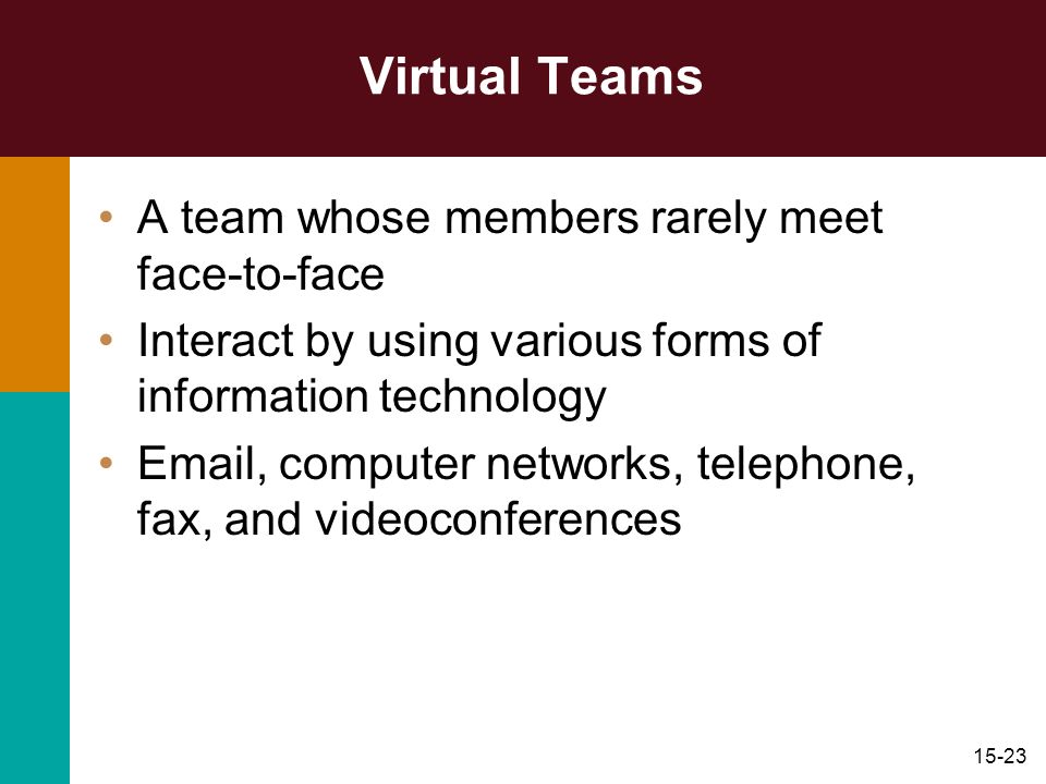 15-23 Virtual Teams A team whose members rarely meet face-to-face Interact by using various forms of information technology Email, computer networks,