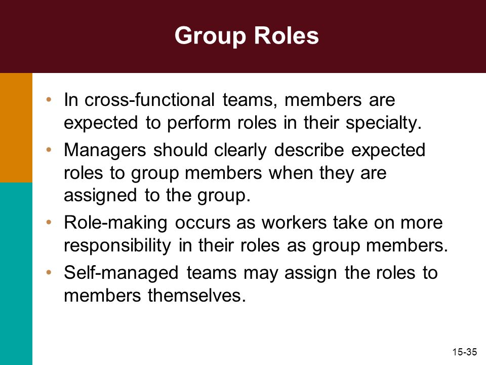 15-35 Group Roles In cross-functional teams, members are expected to perform roles in their specialty. Managers should clearly describe expected roles
