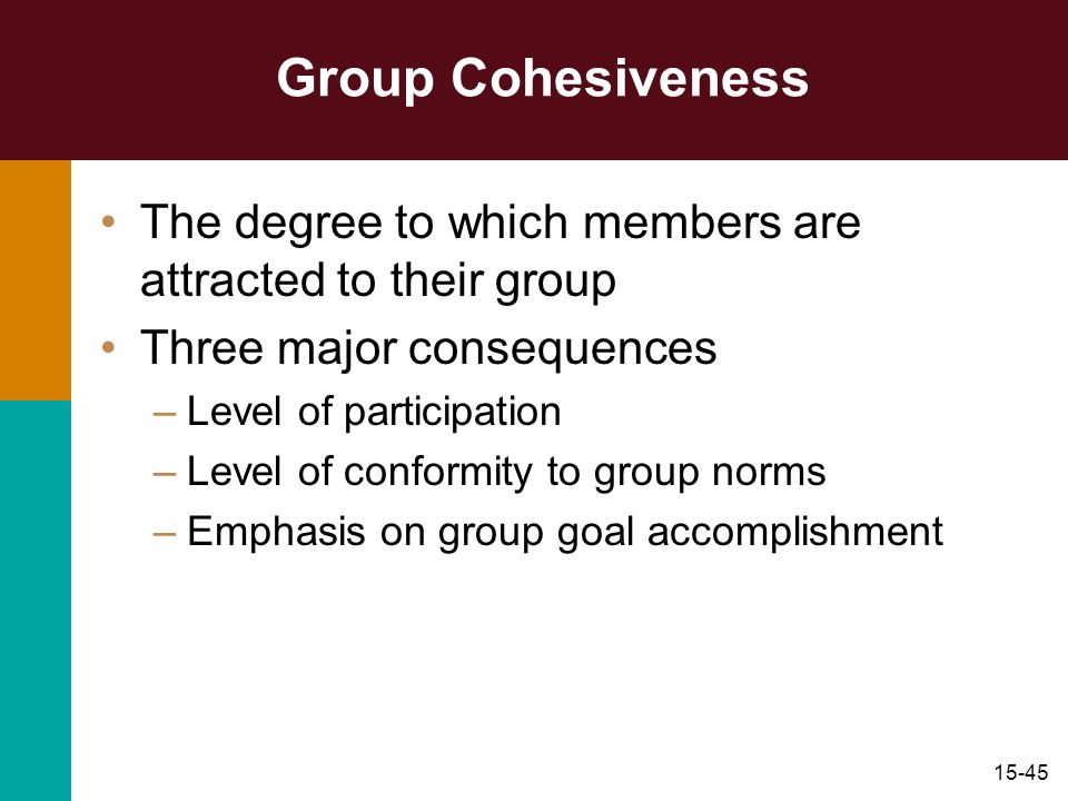 15-45 Group Cohesiveness The degree to which members are attracted to their group Three major consequences –Level of participation –Level of conformit