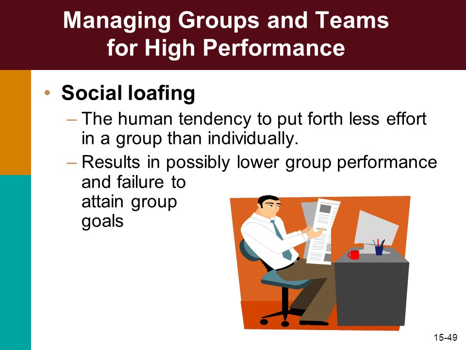 15-49 Managing Groups and Teams for High Performance Social loafing –The human tendency to put forth less effort in a group than individually. –Result