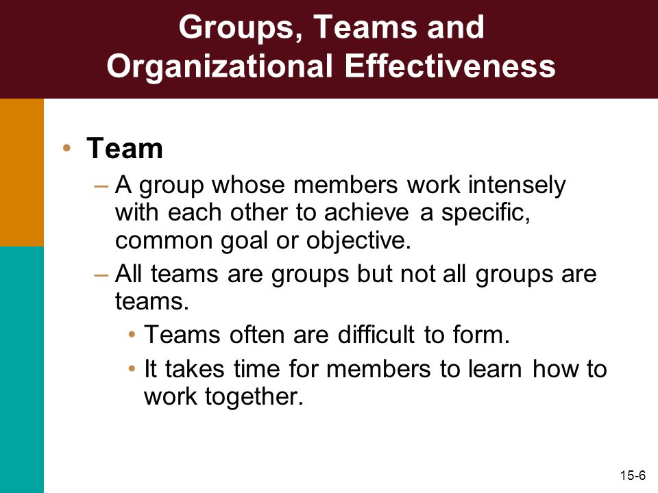 15-6 Groups, Teams and Organizational Effectiveness Team –A group whose members work intensely with each other to achieve a specific, common goal or o