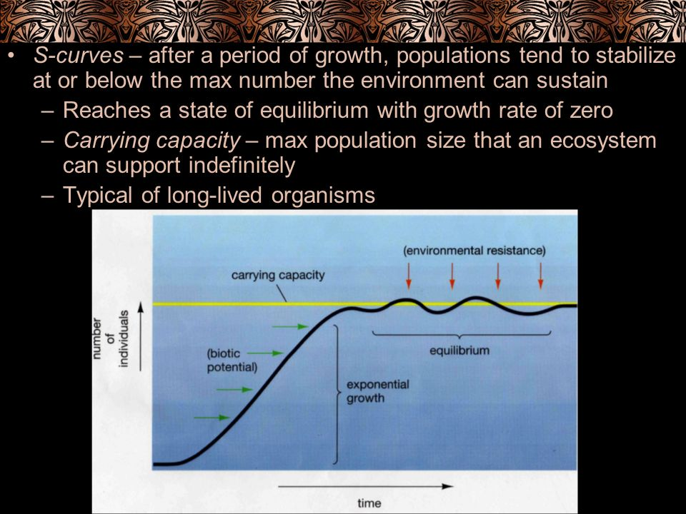 S-curves – after a period of growth, populations tend to stabilize at or below the max number the environment can sustain –Reaches a state of equilibr